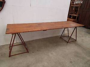 C43008 Rustic Timber 2.4m Trestle Table CAFE Dining Industrial Unley Unley Area Preview