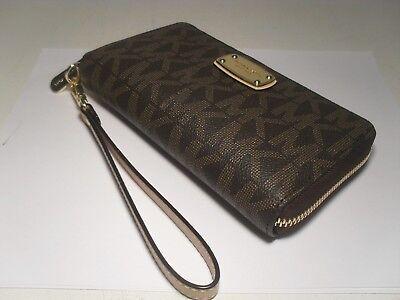 NWT Michael Kors Brown PVC LG Flat Multifunction Phone Case Wallet Wristlet MK
