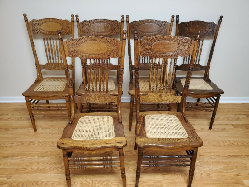 Antique Oak Larkin # 1 Chairs. Set of 6. Refinished, Re-caned and Glued