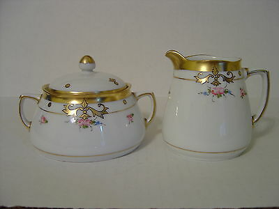 VINTAGE PICKARD HAND PAINTED SUGAR BOWL AND CREAMER SMALL PINK ROSES AND GOLD