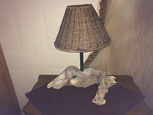 Driftwood Lamp with Wicker Shade