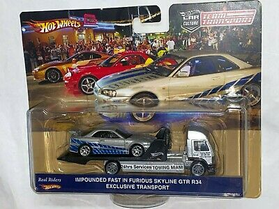 HOT WHEELS TEAM TRANSPORT IMPOUNDED FAST & FURIOUS SKYLINE GTR R34 AERO LIFT RIG