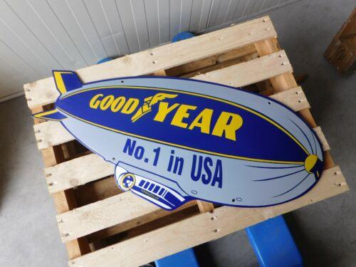 GOODYEAR Tires Super Bowl Zeppelin Enamel Porcelain Advertising Sign 34 x 15 Ich