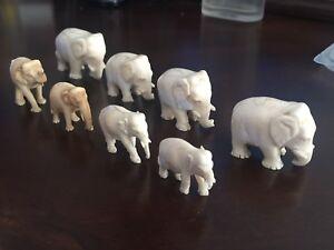 19th century India ivory and bone elephants