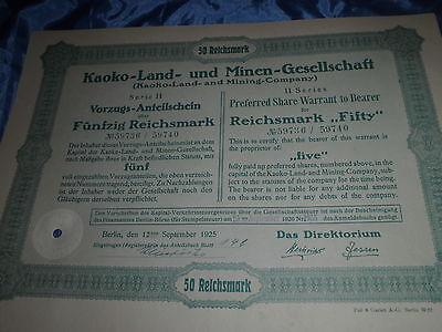 830 : deutsche Aktie / Wertpapier , September 1925 , Kaoko - Land - u. Minen /35