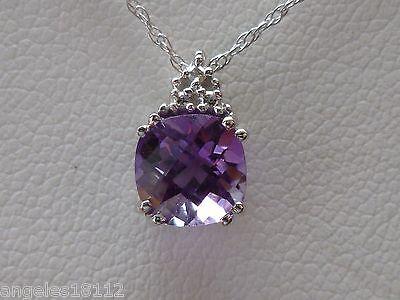 NEW Petite Amethyst & Diamond Cushion-Cut Pendant Necklace-10K Gold- 18