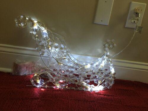 Vintage Crystal Beaded Lighted Christmas Sleigh