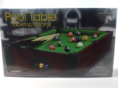 New Club Fun Tabletop Executive Pool Table W// Numbered Balls 2 Cue Sticks Westminster