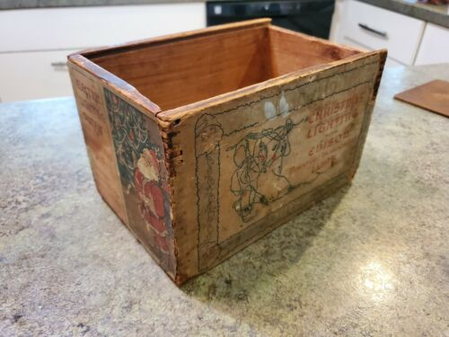 RARE Antique 1903 Wood Dovetail Christmas Lighting Edison Lamps BOX ONLY