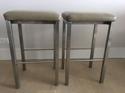 KING Furniture stools with leather seats  x2