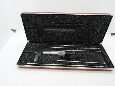 Starrett No 445 Depth Micrometer Set W 5 Rod Case