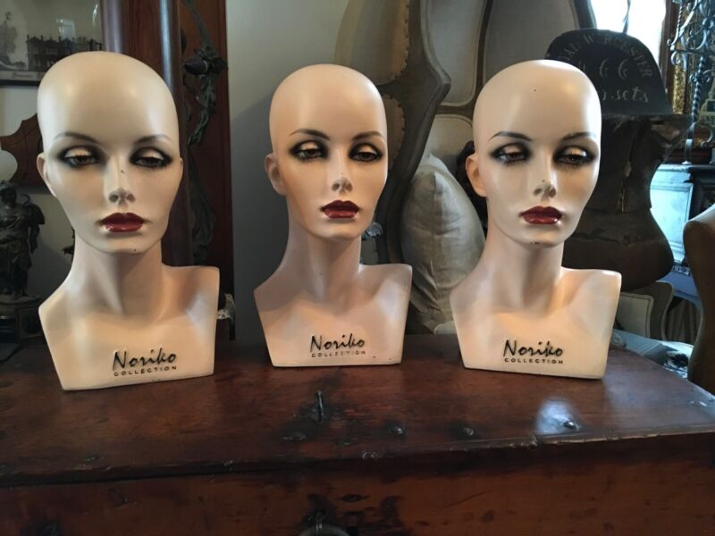 STUNNING VINTAGE NORIKO FRENCH WIG MANNEQUIN HEAD 1 AVAILABLE INCREDIBLE DETAIL