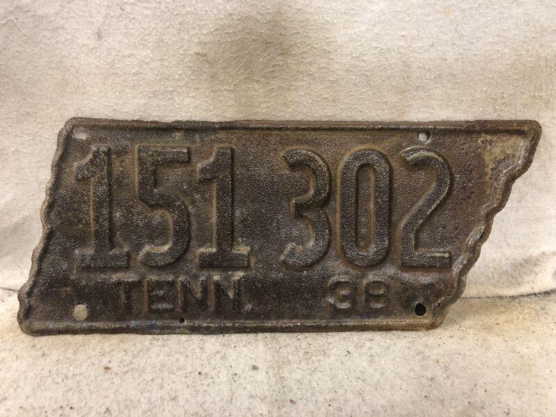 Vintage 1938 Tennessee License Plate