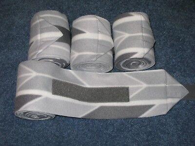 NEW set of 4 light/dark grey chevron horse polo wraps (horse/pony leg wraps)