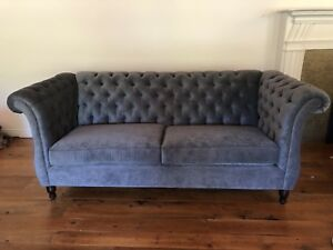 Antique French Style tufted grey blue sofa couch SOLD