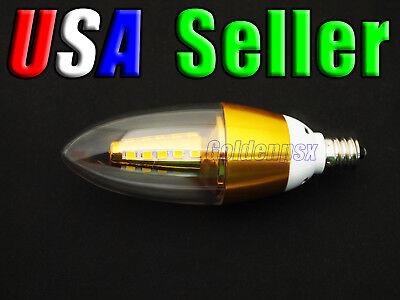- 120V AC 5.0W Warm White LED E12 Base Candelabra Candle Light Bulb