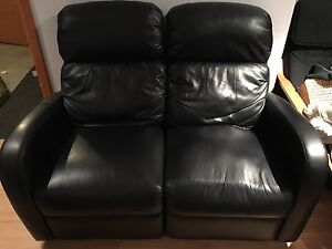Leather love seat recliner