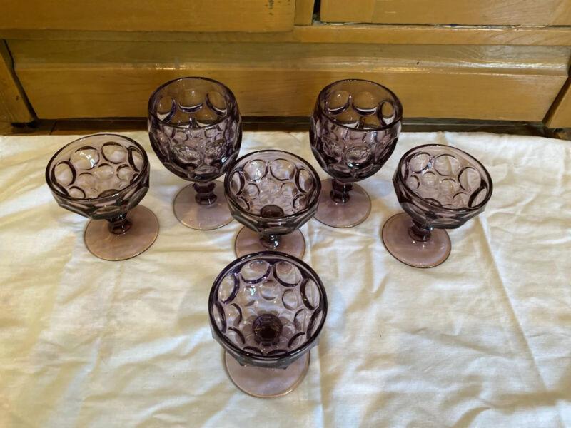 Vintage 2 Imperial Amethyst Provincial Water Goblets & 4 sherberts.