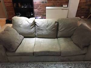 Brown Suede 3 Seater Sofa Fitzroy Yarra Area Preview