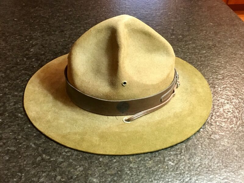 Vintage Boy Scout of American Felt Campaign Hat with leather strap