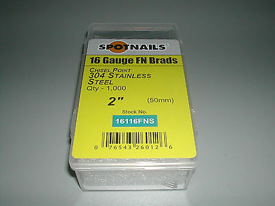 Stainless 2 Finish Nails 20 Degree 16 Gauge For Paslode Dewalt Nailers 1000