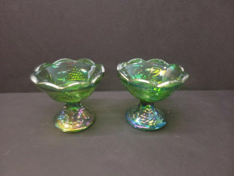 VTG Green Carnival Glass Indiana Candlesticks Set Of 2