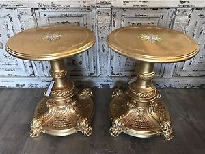 Ornate Italian / French Gilt Circular Top Side Lamp Table - Pair Avail Richmond Hawkesbury Area Preview