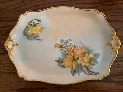 Antique CFH GDM France Hand Painted 2 Handled Serving Bowl