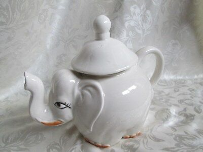 Vintage, Porcelain ELEPHANT TEAPOT, off white in color, individual, made in JAPA