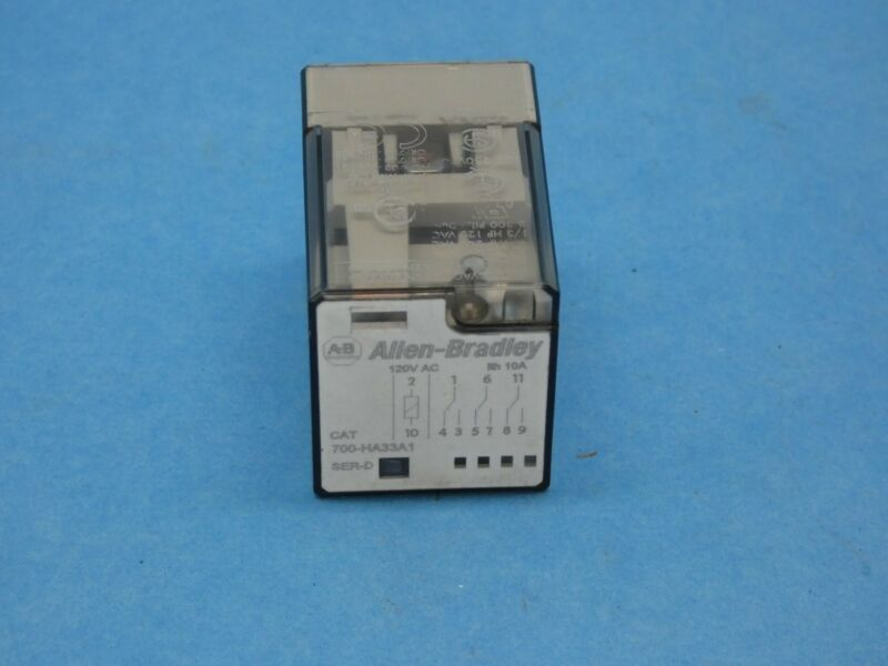 Allen Bradley 700-HA33A1 Series D Relay 11 Pin Octal 3PDT 10 Amp 120 VAC Used