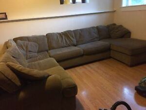 Three piece sectional couch green