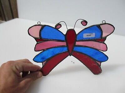 Stained Glass Window Hanger Leaded Chain Panel Butterfly Nature Insect