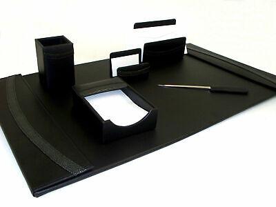 Bey Berk 6 Pc Black Genuine Leather Desk Set Pad Pen Card Holder