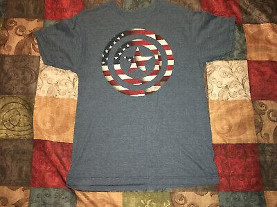 CAPTAIN AMERICA SHIELD AMERICAN FLAG AVENGERS T-SHIRT ADULT MEDIUM - Captain America Shield Adults