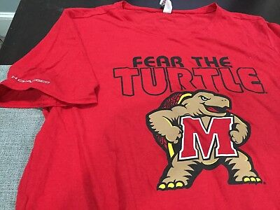 Womens Under Armour Maryland Terps Fear The Turtle S S T Shirt Red Size L Nwt