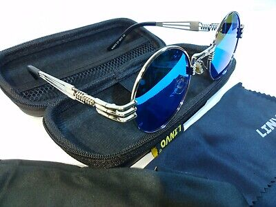 LINVO Retro Round Circle Steampunk Polarized Sunglasses Metal for Men Women
