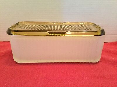 Beautiful Vintage Frosted Glass Refrigerator Contaier With Yellow Glass Lid