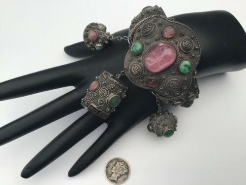 Antique Chinese Export Silver Jade & Pink Tourmaline Filigree Bracelet, Stunning