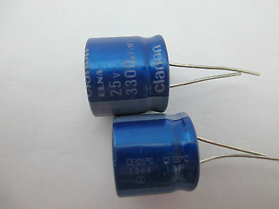 2pcs Elna Clarion 3300mfd 25v 3300uf Audio Electrolytic Capacitor 1620mm 85