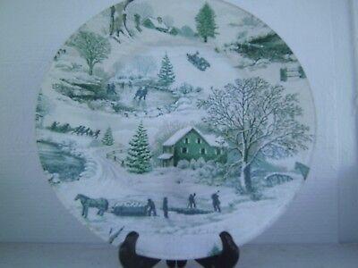 """GREEN 13"""" WINTER SCENE HOME BARN SKATERS SLEDDERS HORSE PLATE~PLATTER GLITTER"""