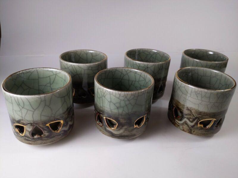 Vintage Obori Somayaki Tea Cups Golden Horse Double Wall Heart Japanese Set of 6