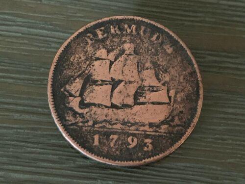 SCARCE BERMUDA GEORGE III 1793 COPPER PENNY W/ SAILING SHIP ~ ESTATE FIND