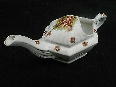 Early 20th c.Long Spout Ornate ** PINK FLORAL ** Invalid Feeder/Feeding Cup