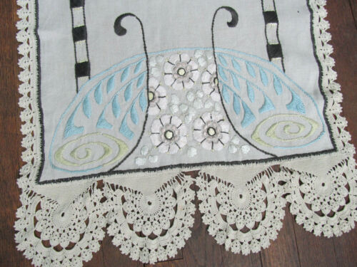 "Vintage Victorian Table Runner Crochet Lace Edge Floral 20"" x 60"" Butterfly M"