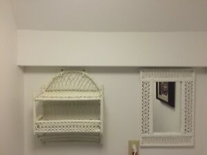 White Wicker Mirror and Towel Rack