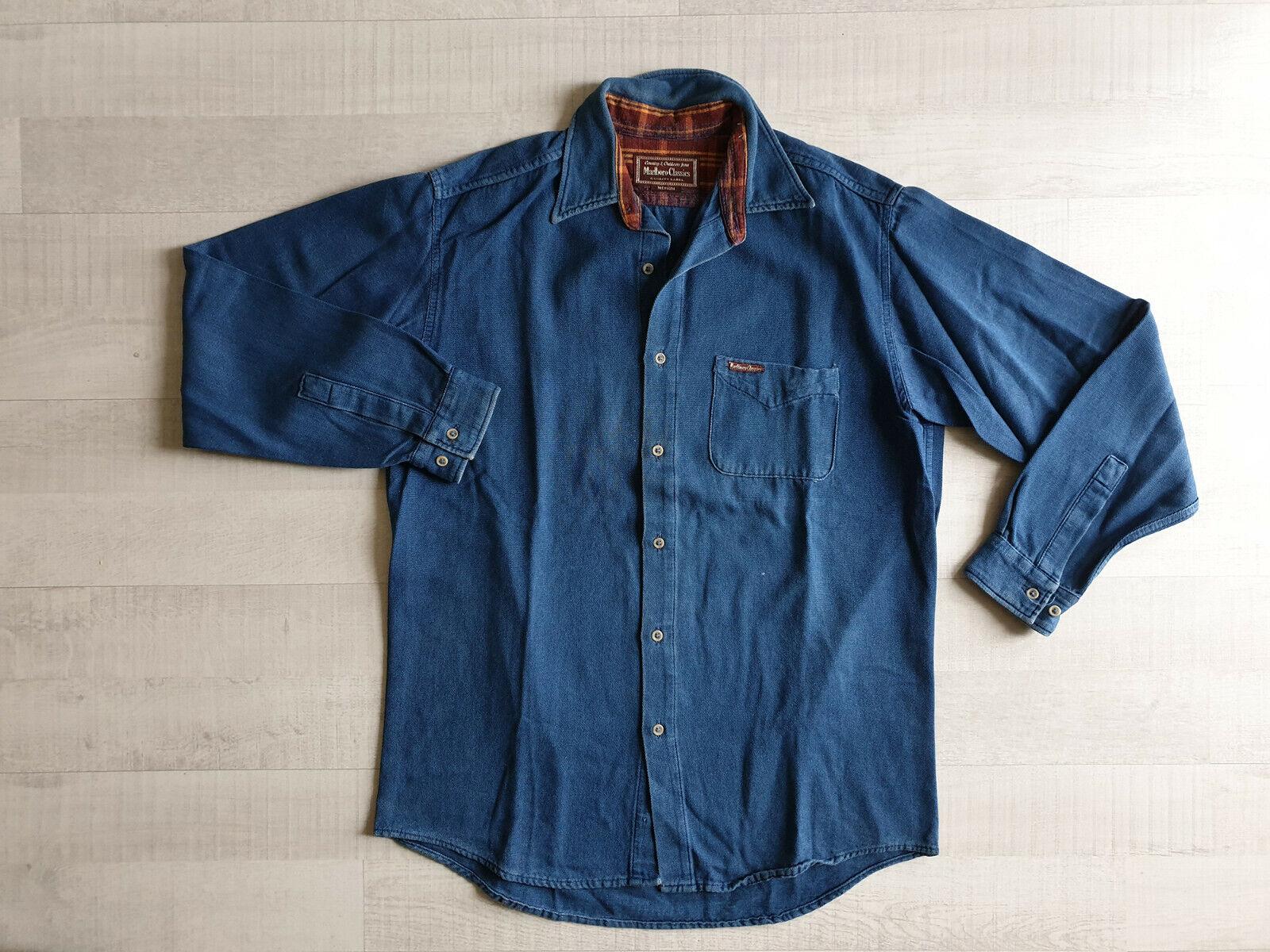 Chemise en jean vintage malboro classics taille m/l, manches longues homme bleu