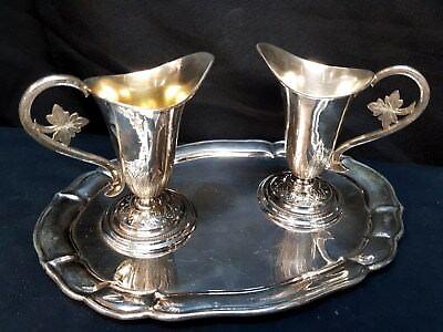 AQUA et VINO Messpollen A V Karaffen in 800 Silber antik auf Tablett Wasser Wein
