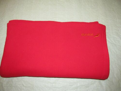 IBERIA AIRLINE SPAIN red fleece new logo cabin blanket travel couch throw new