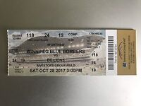 Blue bombers vs BC lions tickets OCTOBER 28