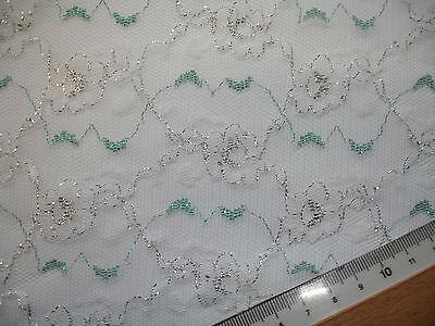 0,5 Laufmeter feine Spitze  3,00€/m²  weiß, türkis, silber FB12 - 240cm breit